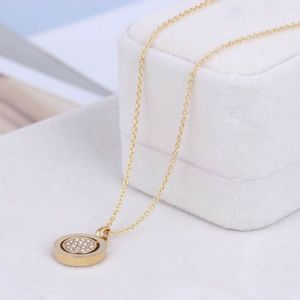 Michael Kors Jewelry - NEW Michael Kors Gold Circle Crystal Pave Necklace